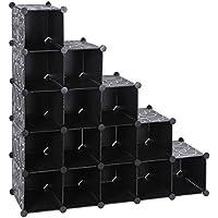 SONGMICS Estantería modular de plástico PP Zapatero Organizador 16 cubos Negro Estampado 113 x 36 x 113 cm LPC44H