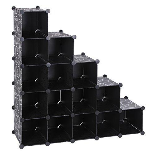 Songmics Schuhregal Regalsystem Schwarz (Maße jedes Faches 22 x 22 x 35,5 cm) LPC44H
