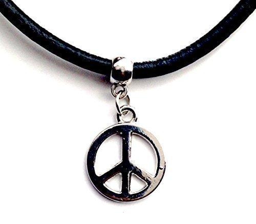 warz echtes Leder Schnur Tattoo Choker Charm Halskette Anhänger Retro Hippie Tibet Silber - Peace, 13, 13