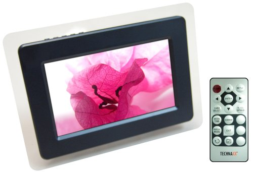 Technaxx P-Vision Digitaler Bilderrahmen (17,8 cm (7 Zoll) Display, widescreen, 480×234 Pixel, USB Port, Diaschau Modus, Uhr-und Kalenderfunktion) schwarz