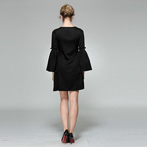 Igemy Mode Frau Flare Langarm Mini Kleid Schwarz