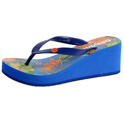 Desigual Shoes Lola Tropical, Chanclas para Mujer, Azul Azul Lovely 5099, 39 EU
