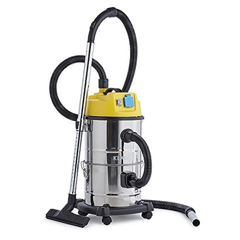 Klarstein Reinraum Aspirateur sec & humide (puissance de 1800 W, réservoir 30 L, fonction souffleur, filtre intégré) - jaune