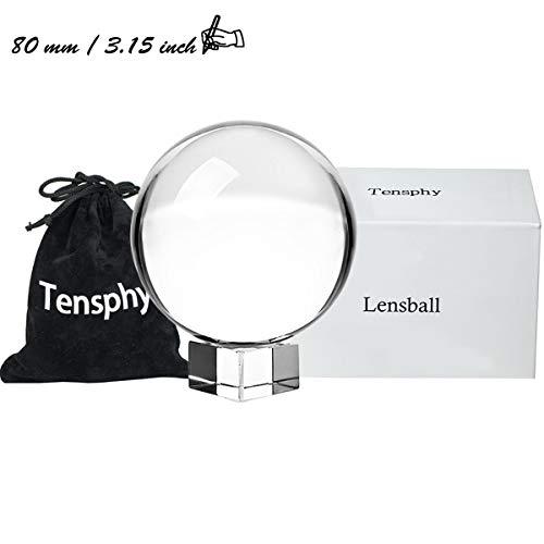 Tensphy K9 Kristallkugel mit Ständer Clear Art Decor K9 Kristall Prop für Fotografie Dekoration (8cm/ 3.15 inch) (Prop Geld Tasche)