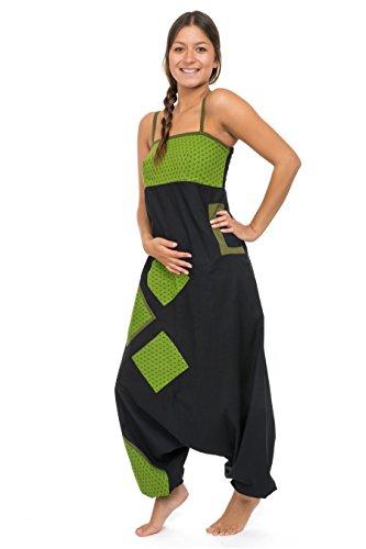 – combinazione saroual Patchwork Geometric Star Jina Nero Verde –