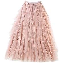 25d78bf28 Falda Larga De Tul Fiesta De Tutú para Mujer Plisadas Faldas Cintura  Elástica