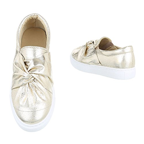 Slipper Damenschuhe Low-Top Moderne Ital-Design Halbschuhe Gold 6677-P
