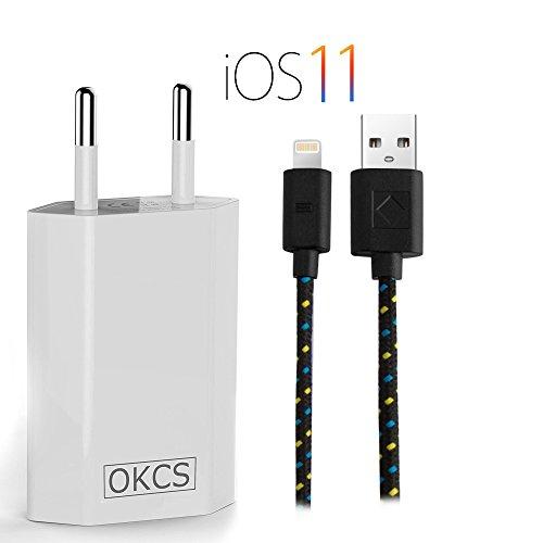 OKCS Textil Ladeset - Lightning Ladekabel 1 Meter kompatibel mit iPhone X, 8, 8 Plus, 7, 7 Plus, 6, 6 Plus, 6s, 6s Plus, 5, 5s, 5c, iPod, iPad Mini, 4, Air, Pro - Schwarz Schwarz Ipod Netzteil