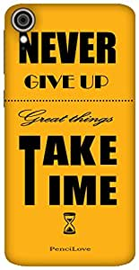 The Racoon Lean Never Give up hard plastic printed back case / cover for HTC Desire 828