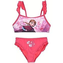 Disney Bañador 2 piezas Bikini Infantil Frozen niñas con adornos de volantes en tirantes y en culetín (8 años, Fucsia)