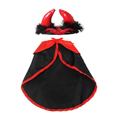 Kostüm Horn Ox - POPETPOP Katze Kostüm Weihnachten Pet Kostüme Red Velvet Haustier Cape Katze Halloween Kostüm Haustier Bekleidung Ox Horn Hut Größe M