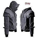 Lanceasy Herren Sweatshirt Mittelalter Vintage Warrior Ritter Maske Armor Pullover Hoodies Tops, grau, Large