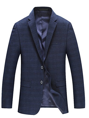 Vogstyle Uomo Giacca Manica Lunga Slim Fit Suit Blazer Per Matrimonio/Party/Commercio Stile 3-Blu Scuro