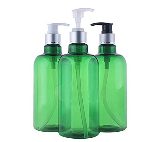 ericotry 3PCS 500ml/16.6OZ Refillable Empty PET Plastic Pump Bottles Jars with Pump Tops for Makeup Cosmetic Bath Shower Toiletries Liquid Containers Leak Proof Portable Travel Accessories (Green)