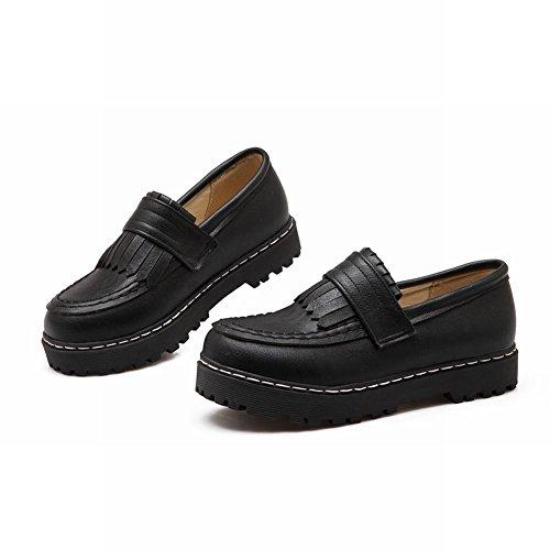 Mee Shoes Damen flach Quaste Slip on Pumps Schwarz