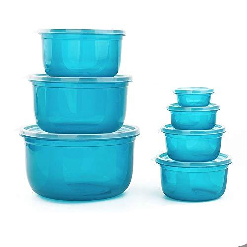 Bei2O brotdose lunch box aufbewahrungsbox set kühlschrank kunststoff mikrowelle versiegelt knödel box obst box lebensmittel box 7-teiliges set blaue küche erwachsene kinder büro schule (Mikrowelle Knödel)