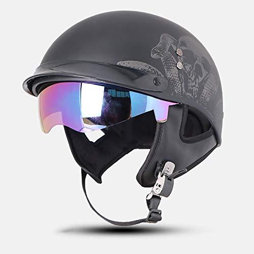 Motorradhelm, Motorradmütze, verstellbar, DOT Approved Crash Totenkopf, matt & glänzend schwarz für Herren Damen Bike, Cruiser, Chopper, Moped, Scooter ATV (S-XL) -LWAJ, ABS, D, M=(55-56CM)