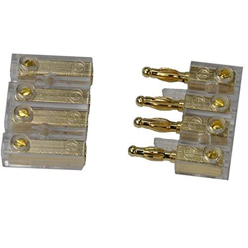 4-fach CAR HIFI Soundboard Audio Spezial Steckverbinder Stereo Buchse bis 4 mm² Kabel , vergoldete Stecker (Kabel Für Car Audio)