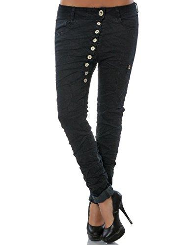 Damen Boyfriend Jeans Hose Denim Stretch Knopfleiste große Größen (weitere Farben) No 15661, Farbe:Schwarz, Größe:L / 40 (Ein Baumwolle Knopf Jeans)
