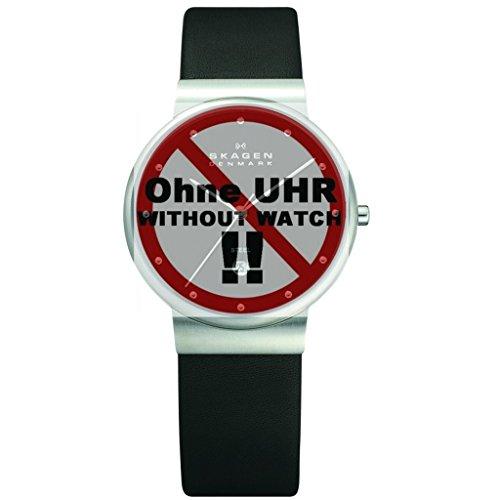 Skagen Uhrband Wechselarmband LB-355LSLB Original Ersatzband 355LSLB Uhrenarmband Leder 18 mm Schwar