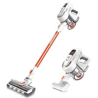 WOMOW W9 Cordless Stick Upright Vacuum Cleaner, 300W Brushless Motor, 16000pa Powerful Suction, Lightweight 2 in 1 Handheld Vacuum with LED Power Brush for Pet Hair