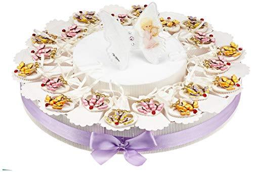 Sindy bomboniere mkm219 torta bomboniera con appendini a forma di cuore con farfalle, resina, bianco, 34 x 34 x 5 cm