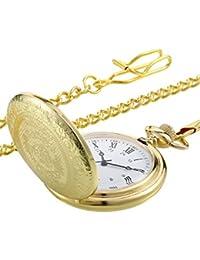 Reloj de Bolsillo Vintage Reloj de Hombres de Acero Dorado con Cadena para Regalo de Día de Padres