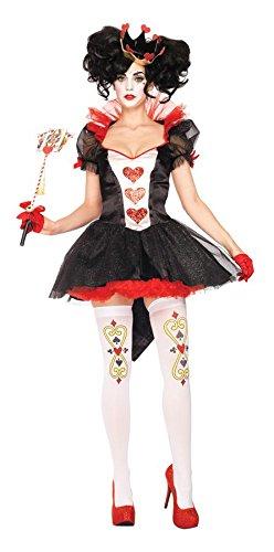 land Damen Kostüm Herzkönigin Königin Herz Red Queen Kleid, Farbe:Schwarz/Rot;Größe:L ()