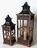 NOOR Handels GmbH Holzlaternen 2er Set Deko Laterne Holz braun Ornamente Metalldach 61559