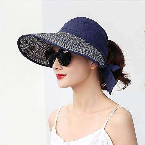 MGIZLJJ Womens UPF50 Faltbare Sommer Strohhut breiter Krempe Sun Beach Hut, Sommer Faltbare Big Visor Sonnenschutzkappe UV Schutz Sun Hat Wild Straw Hat (Farbe : B)