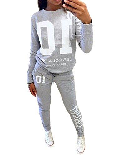 Minetom Donna Autunno Maglie a manica lunga Pantaloni Tute da ginnastica Abbigliamento Sportivo Tuta Jogging Felpa Grigio IT 44
