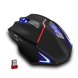 Zelotes Ratón inalámbrico Recargable para Juegos, Ratones ópticos de Alta Precisión de la computadora,600-1000-1600-2000-2400-3200 Ajustable dpi for Gamer,PC,Mac,Laptop,Macbook,Negro