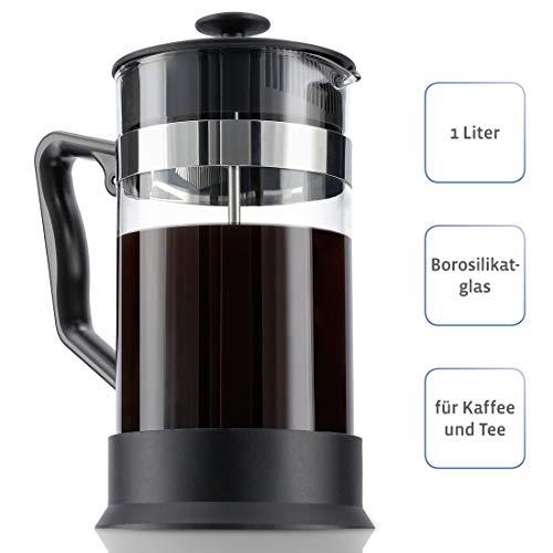 Xavax Kaffeebereiter (aus Glas 1 Liter, Zubereiter Glas, Edelstahlfilter für Kaffee oder Tee 1l, spülmaschinenfest, French Press) schwarz -