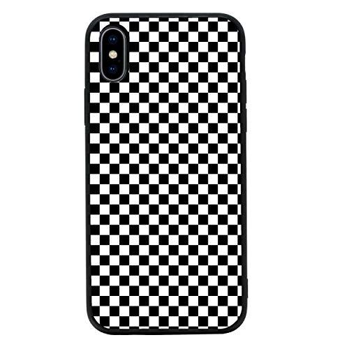 Fall Transparent Checker (I-CHOOSE LIMITED Junge Rennfahrer Temperiert Glas Zurück Fall Kompatibel mit iPhone XR - Handyhülle Schutzhülle Stoßfänger für 6.1 Zoll Bildschirm)