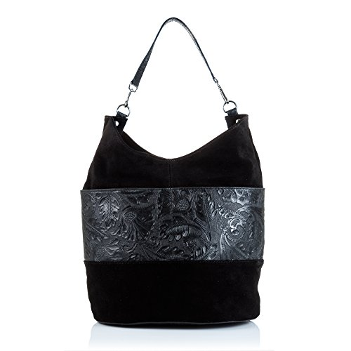 Firenze ARTEGIANI.Bolso Shopping Bag de Mujer Piel auténtica.Bolso Cuero Genuino Grande.Piel Gamuza...