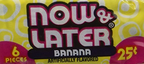 Now and Later Banana Flavored Candy 6 piece bars ( pack of 24 ) by Now and Later