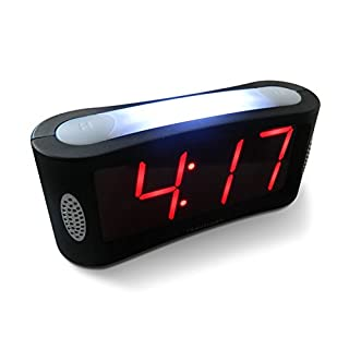 Digital Alarm Clock - Mains Powered, No Frills Simple Operation Alarm Clocks, Large Night Light, Bedside Alarm, Snooze, Non Ticking, Full Range Brightness Dimmer, Big Red Digit Display, Black