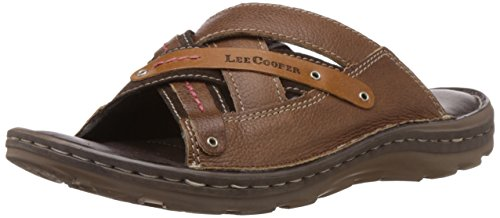 Lee Cooper Men's Brown Leather Flip Flops Thong Sandals - 8 UK
