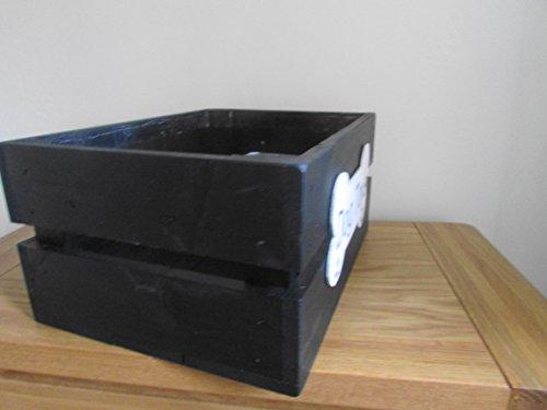Wood Dog Pet Toy/Treats/Grooming Storage Box/Crate.BUSHEL BOX BLACK. 35cm L x 26cm W x 17cm 3