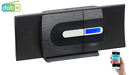 auvisio Kompaktanlage: Vertikale Design-Stereoanlage, FM/DAB+, Bluetooth, CD, MP3, AUX, 40 W (CD Radio)