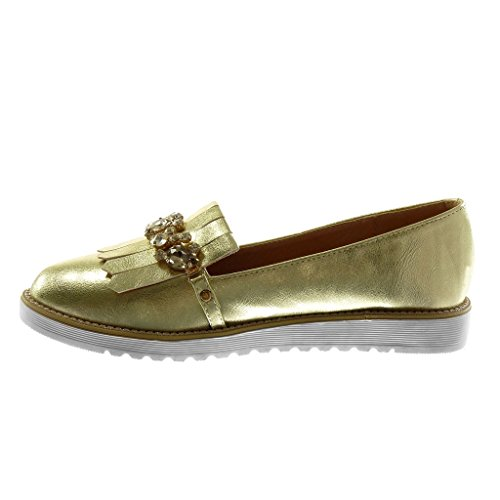Angkorly Chaussure Mode Mocassin slip-on femme bijoux frange brillant Talon plat 2.5 CM Or