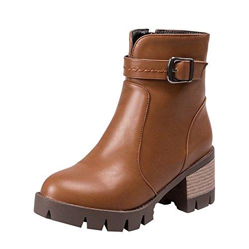 Mee Shoes Damen kurzschaft runde chunky heels Plateau Stiefel Gelbbraun