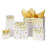 Loveinside Dots Foil Gift Bags - Sac Cadeau En Papier Blanc Or Blanc Avec Papier De Soie Pour Mariage, Cadeau D'Anniversaire-5Pack - Multi Size