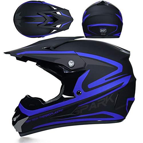 Preisvergleich Produktbild GZYTY Offroad-Helm Motorrad-Offroad-Helm Racing Lightweight Mountain Integralhelm Schutzbrille Fuchshelm,  Blue Fleet-M