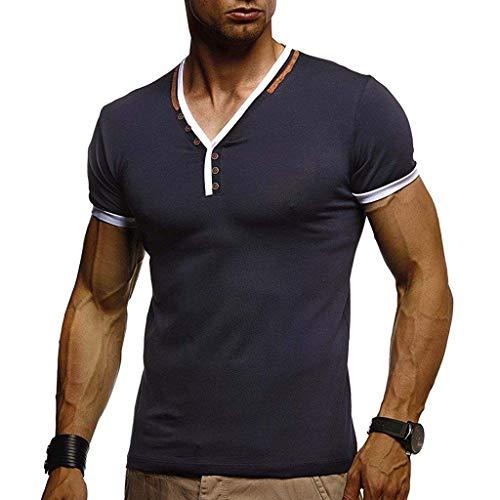 UINGKID Hommes Tee Shirt Décontractée Couleur Unie Manche Courte T-Shirt Hommes Splice Chemise Homme Shirts Manche Courte Casual T-Shirt Mode Mince Fit Chemise Tops Sh