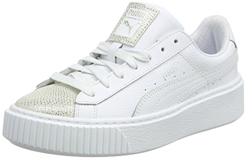 Puma Unisex-Kinder Basket Platform Glitz Jr Sneaker, Weiß (White), 38.5 EU (Junior-mädchen Freizeitschuhe)