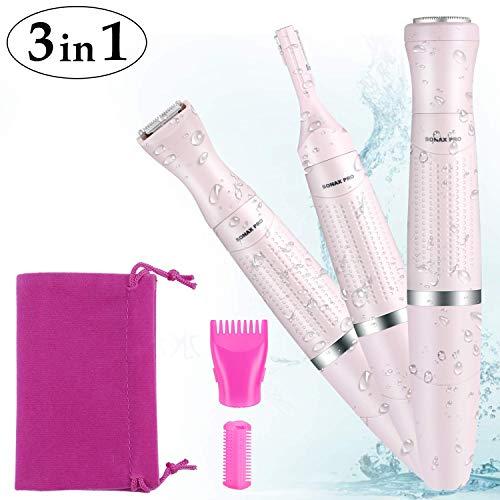 Damenrasierer Set 3 in 1, Elektrorasierer für Gesicht, Augenbrauen, Körper und Intimbereich, Haarentfernungssystem für Frauen, batteriebetrieben