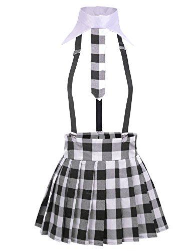 Avidlove Damen Sexy Schulmädchen Kostüm Minirock Ouvert mit BHS Set Babydoll Cosplay Dessous Set (44 Bhs)