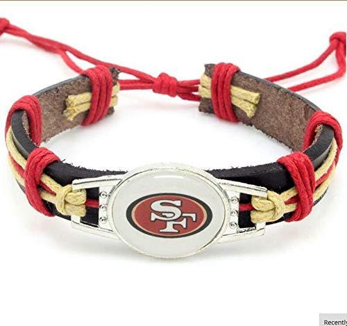 Guojiahao Sport Schmuck Charm verstellbar Leder Manschette Armband für Frauen, San Francisco 49ers (Armband 49ers)