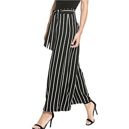 UFACE Women\'s Stripe Wide Leg Pants Frauen Streifen Flowy Wide Leg Hohe Taille Reißverschluss Belted Long Pants (S/(36), Schwarz)